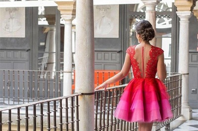 A-line Tulle Mini Newest Cap-Sleeve Zipper Lace Jewel Homecoming Dress UK_2