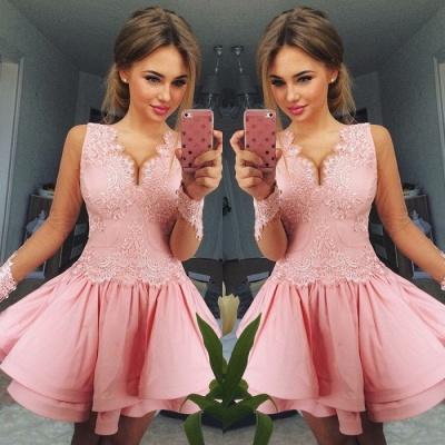 Lovely Pink Short Prom Dress UK | Lace Homecoming Dress UK_3