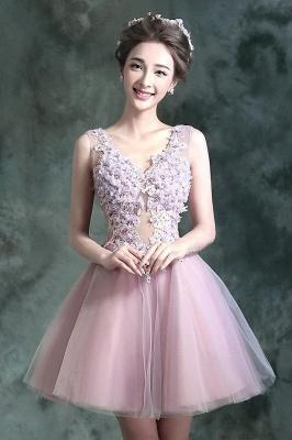 beautiful V-neck Homecoming Dress UK Sleeveless Short With Flowers_1