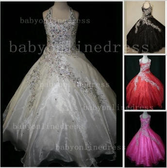 Discounted Wholesale Ball Gown Girls Pageant Dresses Beaded Crystal Online_1