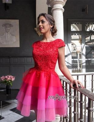A-line Tulle Mini Newest Cap-Sleeve Zipper Lace Jewel Homecoming Dress UK_4