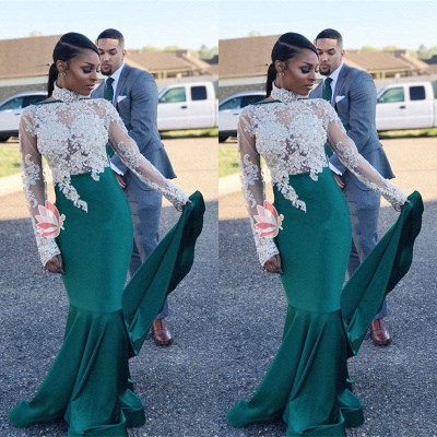 High-Neck Green Lace Prom Dress UK   Mermaid Long-Sleeve Evening Gowns_3
