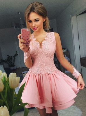Lovely Pink Short Prom Dress UK | Lace Homecoming Dress UK_1