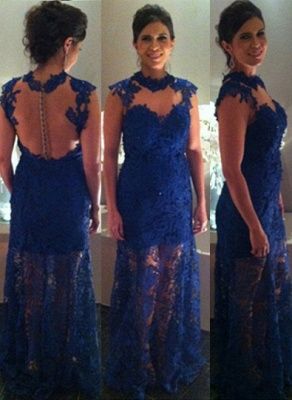 Proms Party Gorgeous Long Dress UKes UK for Evening Blue Lace Sleeveless High-neck Womans Gowns_1
