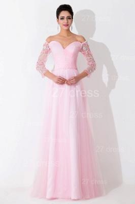 Modern Off-the-shoulder A-line Evening Dress UK Crystals Zipper Floor-length_1