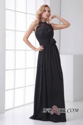 Sleeveless Sash Floor-length Black Lace Modern A-line Bridesmaid Dress UK_3