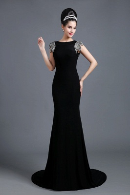 Sexy Jewel Cap Sleeve Black Prom Dress UK With Sequins Beadings_1