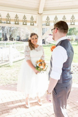Elegant Lace Illusion Half Sleeve Wedding Dress Plus Size A-line_6
