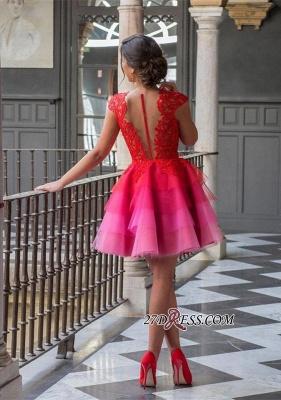 A-line Tulle Mini Newest Cap-Sleeve Zipper Lace Jewel Homecoming Dress UK_3