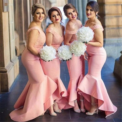 Sexy Off-the-shoulder Mermaid Bridesmaid Dress UK Lace Ruffles_3