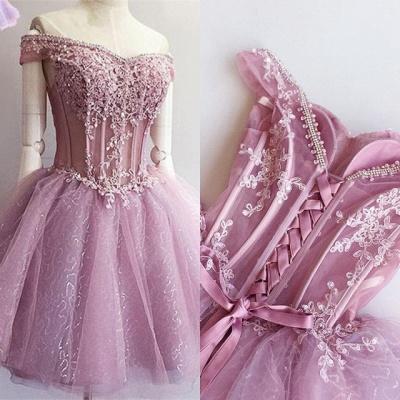 Luxury Off-the-Shoulder Short Homecoming Dress UK   2019 Sequins Short Dress UK With Appliques_4