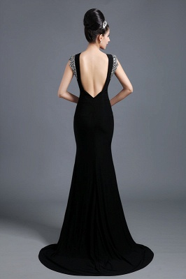 Sexy Jewel Cap Sleeve Black Prom Dress UK With Sequins Beadings_3