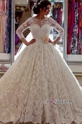 Vintage Illusion Arabic Church-Train Sleeves Sheer Lace Long Ball-Gown Wedding Dress_2