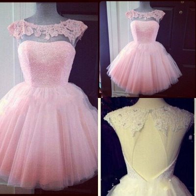 Cute Pink Cap Sleeve Appliques Homecoming Dress UK Mini Tulle_2