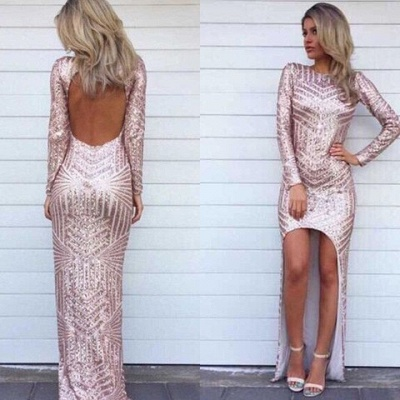 Stunning Long Sleeve Sequins Prom Dress UKes UK Open Back Hi-Lo Evening Gowns HT106_2