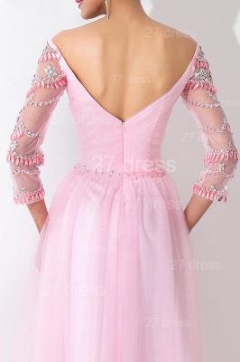 Modern Off-the-shoulder A-line Evening Dress UK Crystals Zipper Floor-length_4