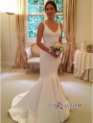 Elegant V-Neck Open-Back Sexy Mermaid Sleeveless Wedding Dress_2