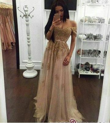 Elegant Gold A-line Long Appliques Off-the-Shoulder Prom Dress UKes UK BA4856_2