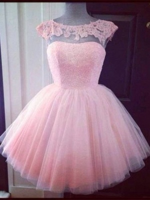 Cute Pink Cap Sleeve Appliques Homecoming Dress UK Mini Tulle_1