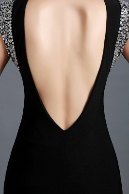 Sexy Jewel Cap Sleeve Black Prom Dress UK With Sequins Beadings_5