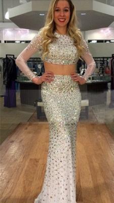 Elegant Jewel Long Sleeve Prom Dress UK With Beadings Crystals_2