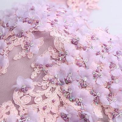 beautiful V-neck Homecoming Dress UK Sleeveless Short With Flowers_5