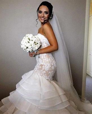 Stunning Sweetheart Sexy Mermaid Lace Wedding Dress Ruffles Layered_1