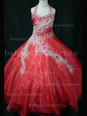 Discounted Wholesale Ball Gown Girls Pageant Dresses Beaded Crystal Online_4