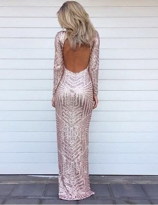 Stunning Long Sleeve Sequins Prom Dress UKes UK Open Back Hi-Lo Evening Gowns HT106_1