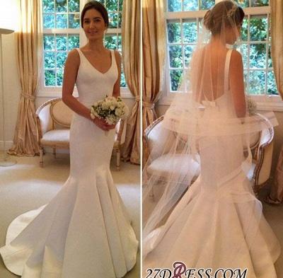 Elegant V-Neck Open-Back Sexy Mermaid Sleeveless Wedding Dress_1
