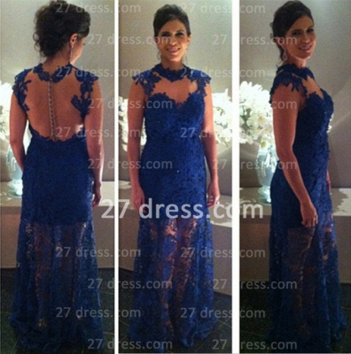 Proms Party Gorgeous Long Dress UKes UK for Evening Blue Lace Sleeveless High-neck Womans Gowns_2