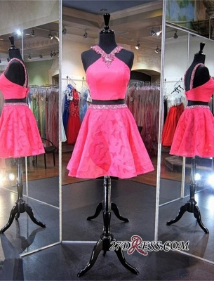 Mini Sleeveless A-line Beads Newest Two-Piece Straps Homecoming Dress UK_1
