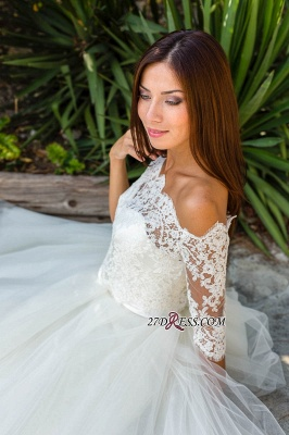 Floor-length Half-sleeves Off-the-shoulder Ball-Gown Simple Lace Wedding Dress_5