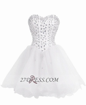 Luxurious Sweetheart Sleeveless Cocktail Dress UK Lace-up Crystals Short White Homecoming Gown BA8930_1