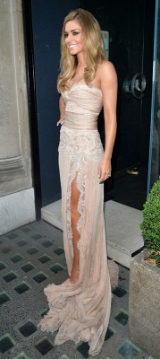 Gorgeous One Shoulder Lace Evening Gowns Front Split Celebrity Style_4