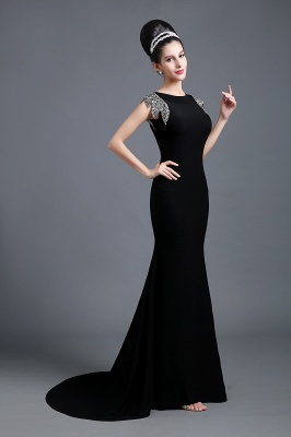 Sexy Jewel Cap Sleeve Black Prom Dress UK With Sequins Beadings_2