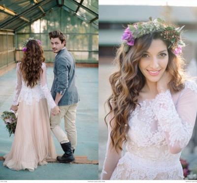 Delicate  Lace Appliques Wedding Dress Long Sleeve_3