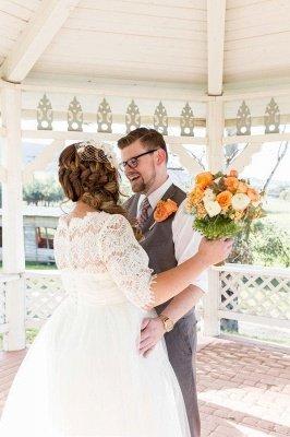 Elegant Lace Illusion Half Sleeve Wedding Dress Plus Size A-line_3