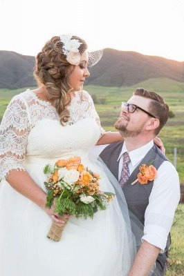 Elegant Lace Illusion Half Sleeve Wedding Dress Plus Size A-line_4