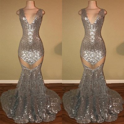 Silver Sequins Prom Dress UK | Mermaid V-Neck Evening Gowns_3