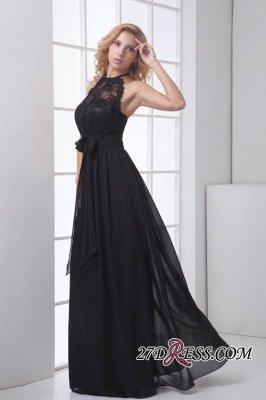 Sleeveless Sash Floor-length Black Lace Modern A-line Bridesmaid Dress UK_4