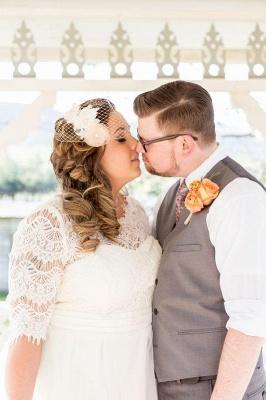 Elegant Lace Illusion Half Sleeve Wedding Dress Plus Size A-line_5