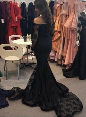 Elegant Black Mermaid Long Sleeve Evening Dress UK Long With Lace_3