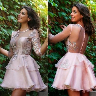 Sexy Half-Sleeve 2019 Short Homecoming Dress UK | Tulle Layers Short Party Dress UK_4