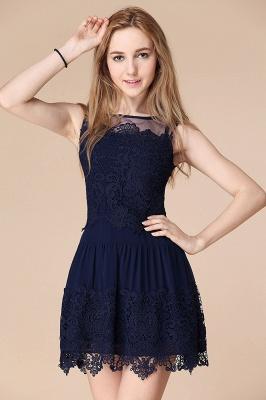 Newest Illusion Sleeveless Short Homecoming Dress UK With Lace_1