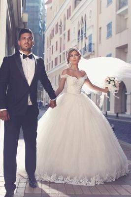 Elegant Off-the-shoulder Lace Wedding Dress Tulle Ball Gown Floor Length BA3477_1
