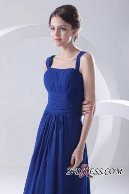Royal-Blue Straps A-line Sleeveless Newest Ruffles Bridesmaid Dress UK_2