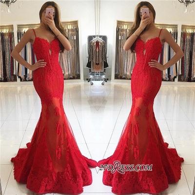 Red Mermaid Spaghetti-Strap Lace Luxury Evening Dress UK_1