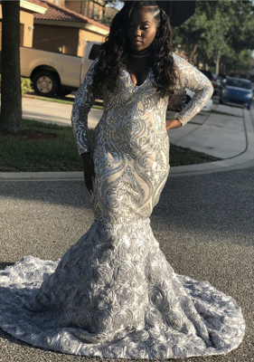 Silver Sequins Prom Dress UK | Long Sleeve Evening Gowns With Flowers Bottom BK0 BA9148_1