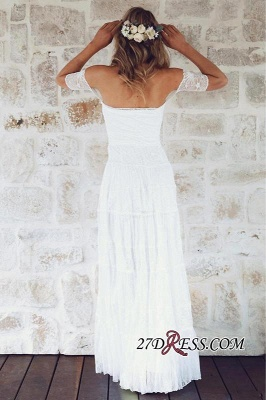 Summer Lace Short-Sleeve Elegant Long Beach Wedding Dress_2